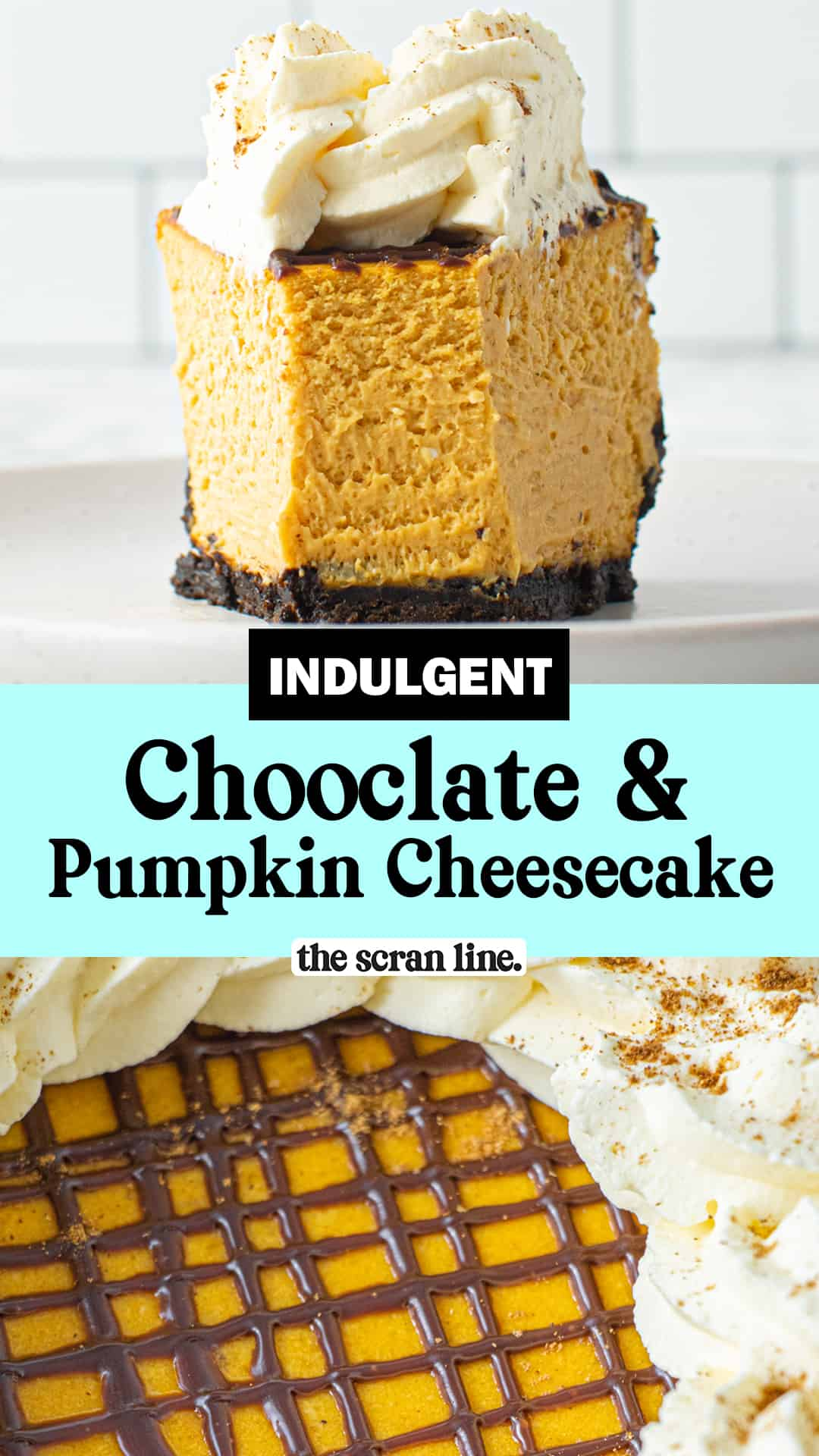Pinterest Image for Chocolate And Pumpkin Cheesecake