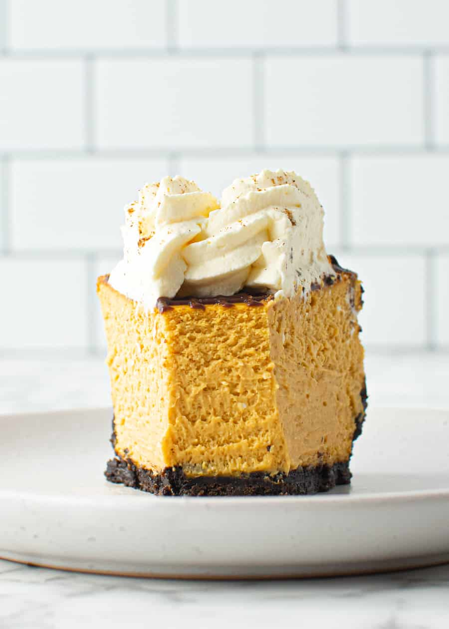 Close up of a slice of Chocolate And Pumpkin Cheesecake