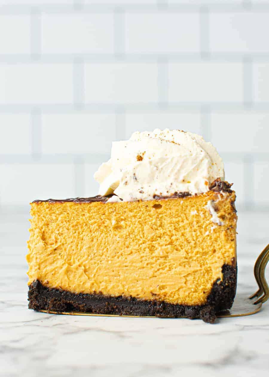 Slice of Chocolate And Pumpkin Cheesecake