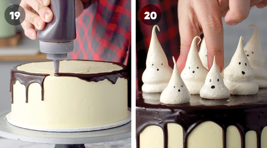 Instructional image for Meringue Ghost Cake 15