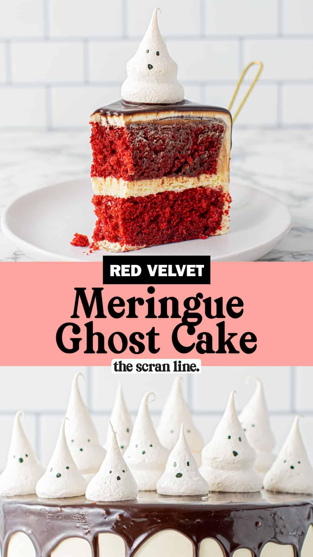 Pinterest image for Meringue Ghost Cake