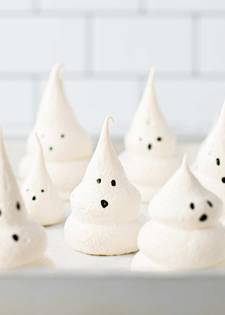 Meringue Ghosts on baking tray for Meringue Ghost Cake