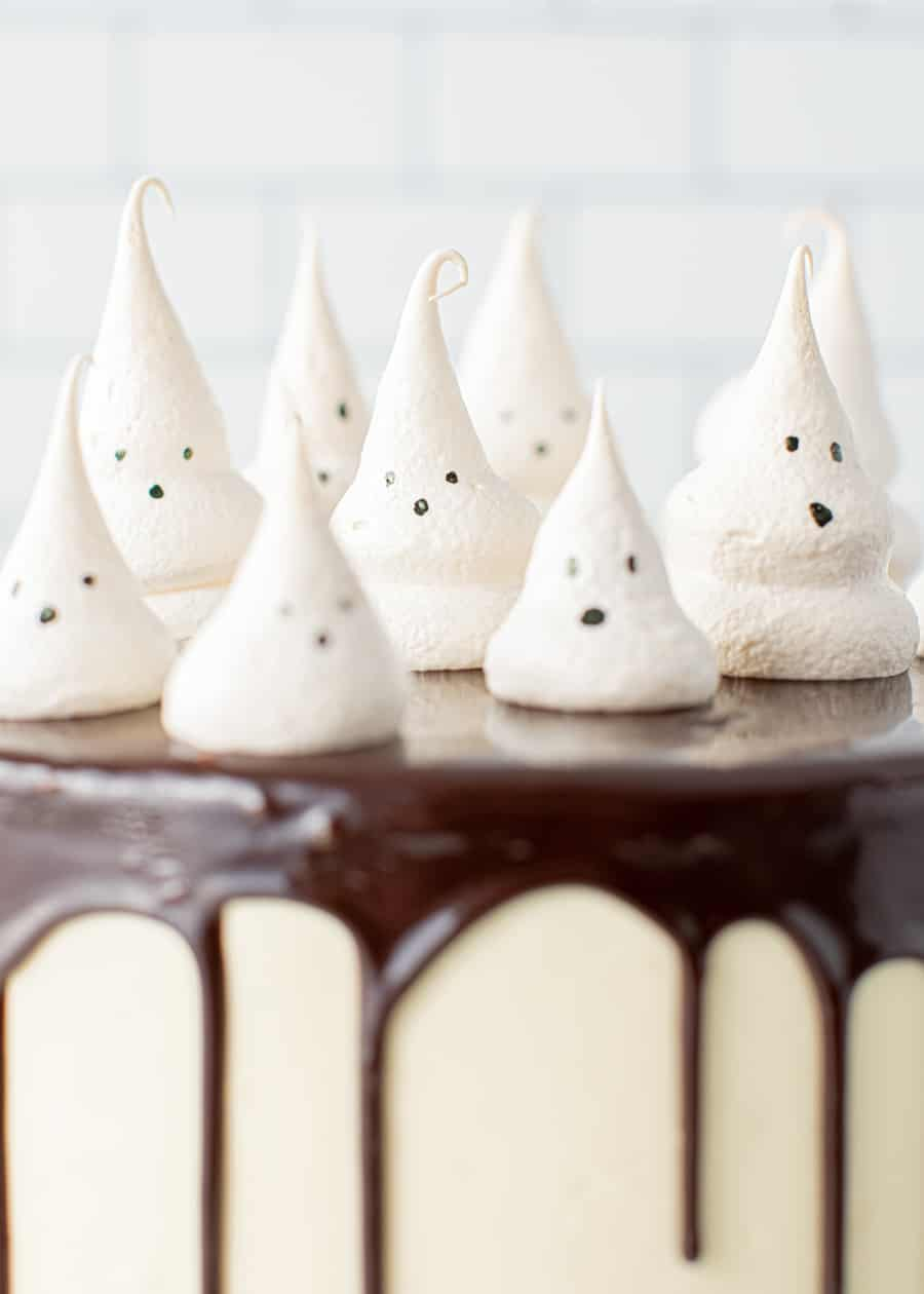 Close up of toppings on Meringue Ghost Cake