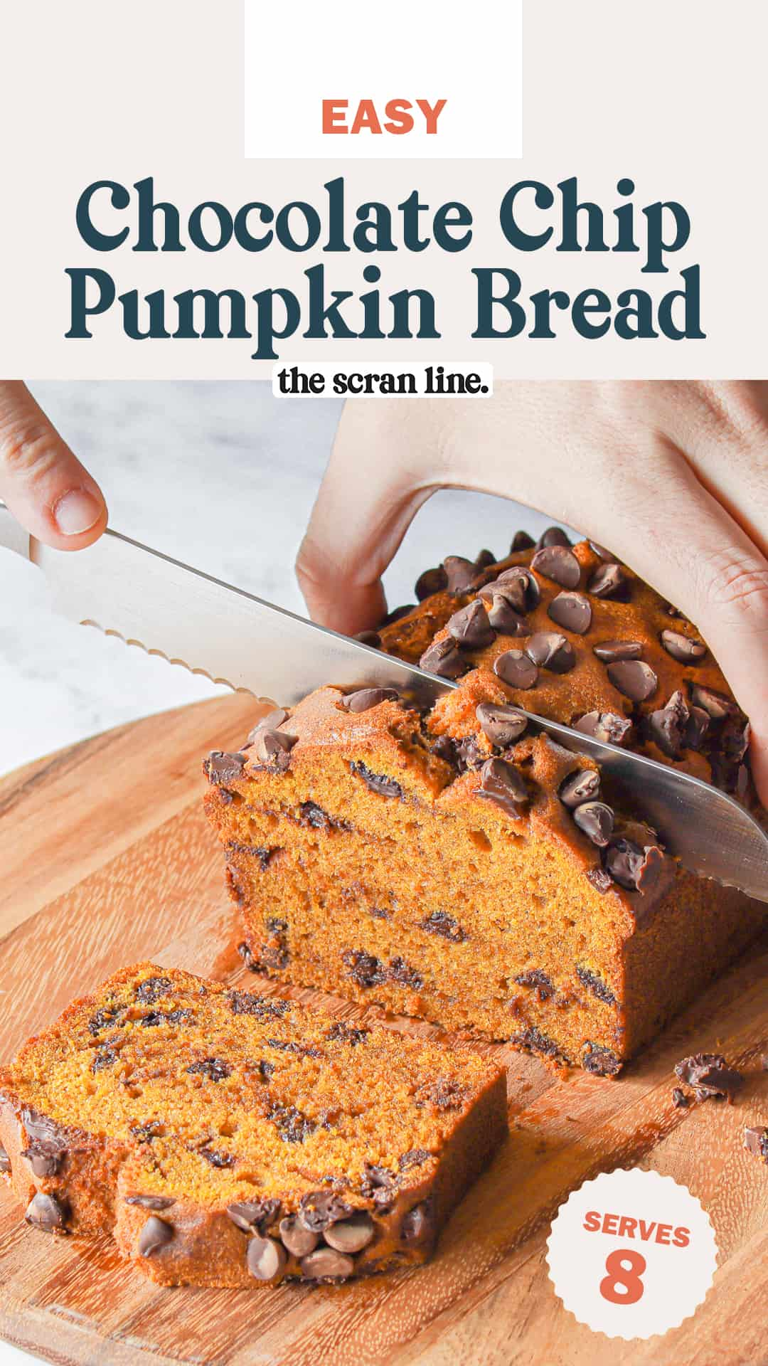 Pinterest image for Chocolate Chip Pumpkin Bread